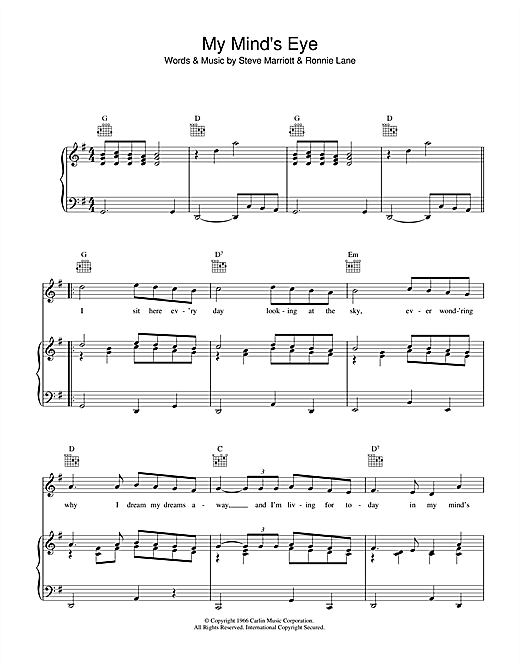Partition piano My Mind's Eye de The Small Faces - Piano Voix Guitare (Mélodie Main Droite)