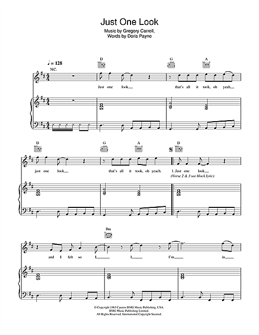 Just One Look Sheet Music