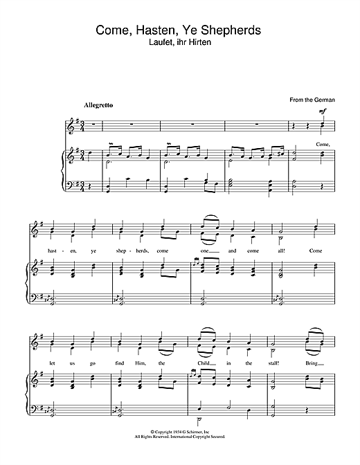 Come Hasten Ye Shepherds Sheet Music