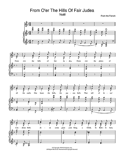 From O'er The Hills Of Fair Judea Sheet Music