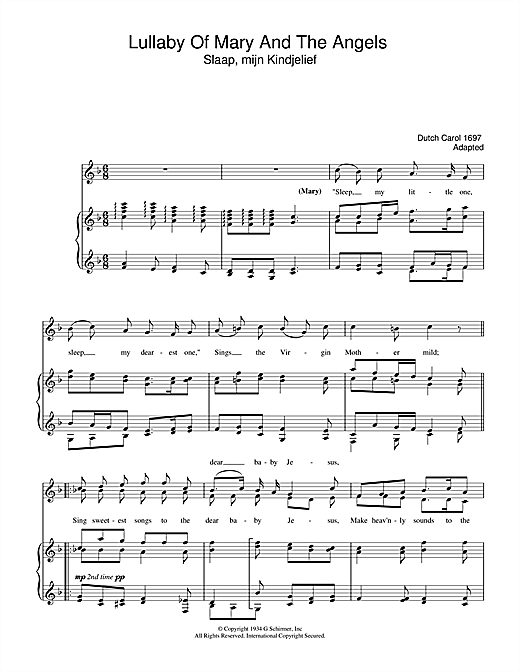Lullaby Of Mary And The Angels Sheet Music