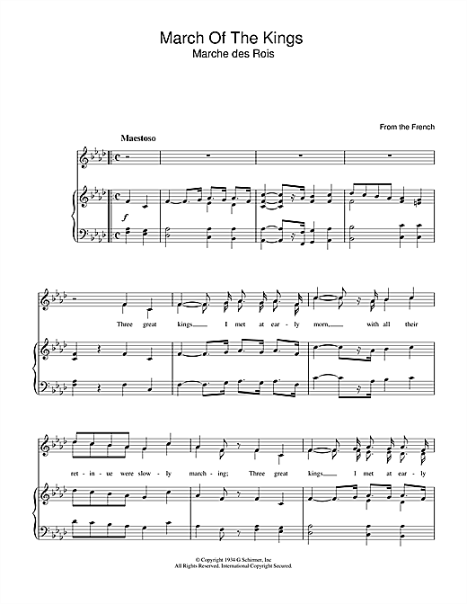 March Of The Kings Sheet Music