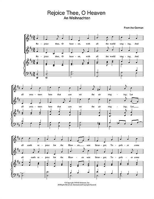 Rejoice Thee, O Heaven Sheet Music
