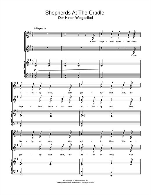 Shepherds At The Cradle Sheet Music
