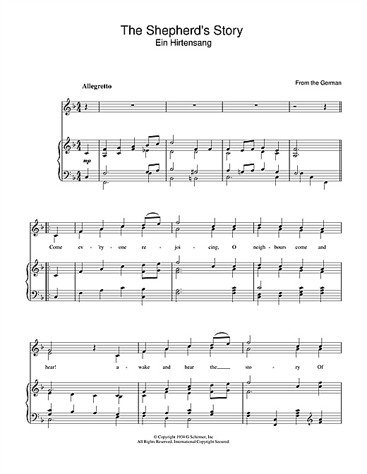 The Shepherd's Story Sheet Music