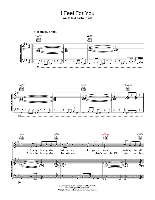I Feel For You Sheet Music