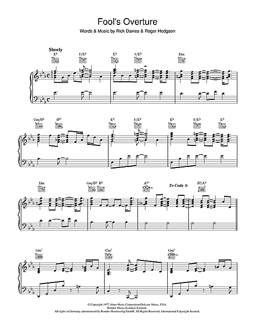 Fool's Overture Sheet Music
