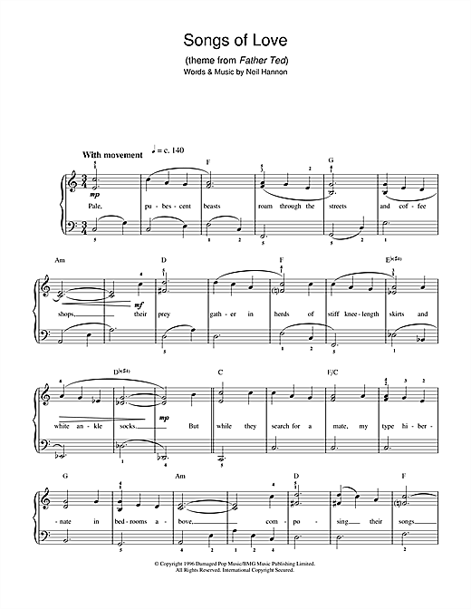 Partition piano Songs Of Love (theme from Father Ted) de The Divine Comedy - Piano Facile