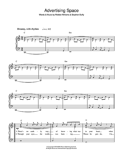 Advertising Space Sheet Music