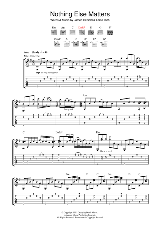 Nothing Else Matters Guitar Tab by Metallica (Guitar Tab u2013 37300)