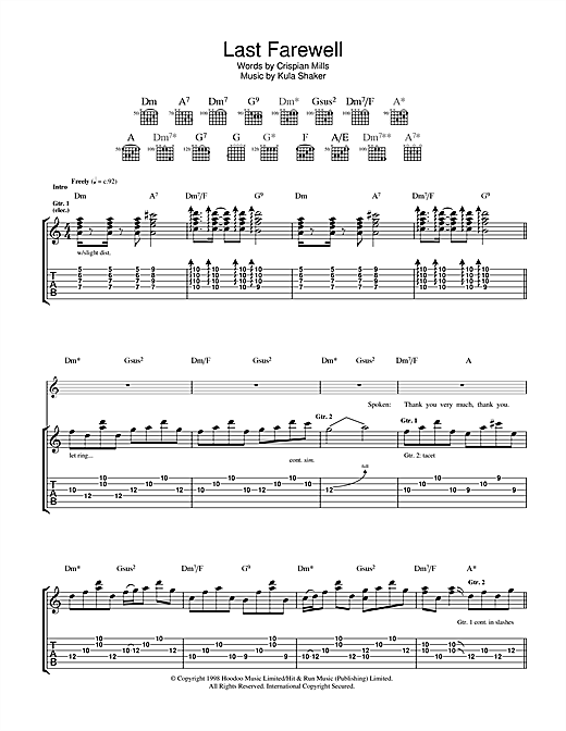 Last Farewell Sheet Music
