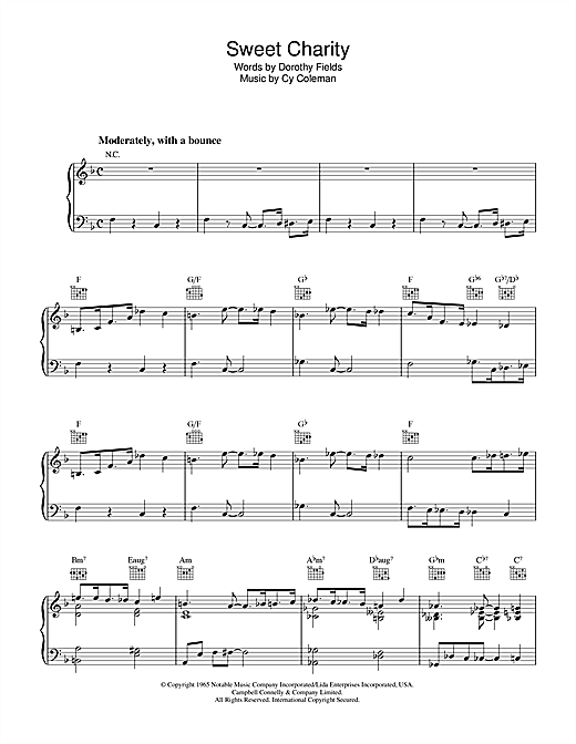 Partition piano Sweet Charity de Dorothy Fields - Piano Voix Guitare