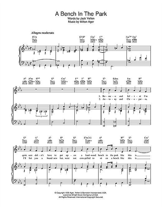 A Bench In The Park (Piano, Vocal & Guitar (Right-Hand Melody))