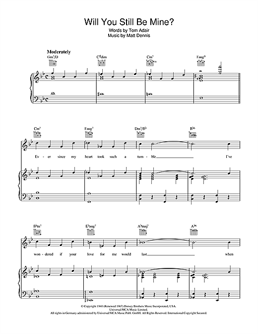 Will You Still Be Mine? Sheet Music