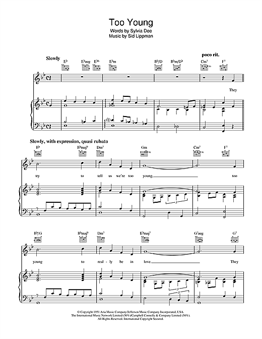 Too Young Sheet Music