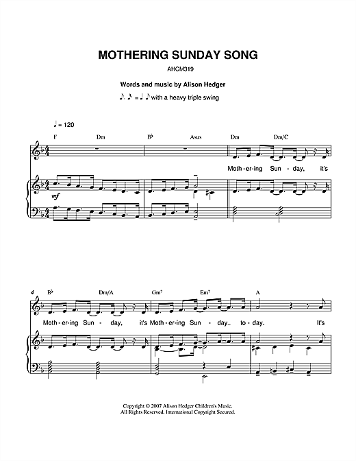 Partition piano Mothering Sunday Song de Alison Hedger - Piano Voix Guitare (Mélodie Main Droite)