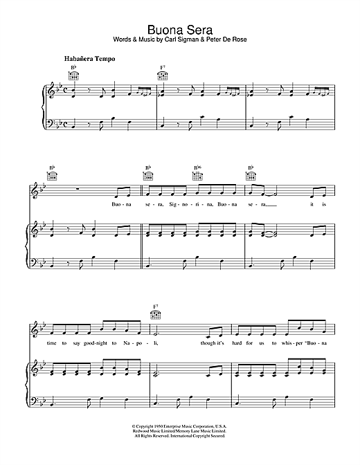 Buona Sera Sheet Music