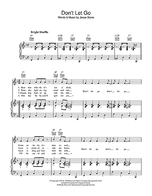Don't Let Go Sheet Music
