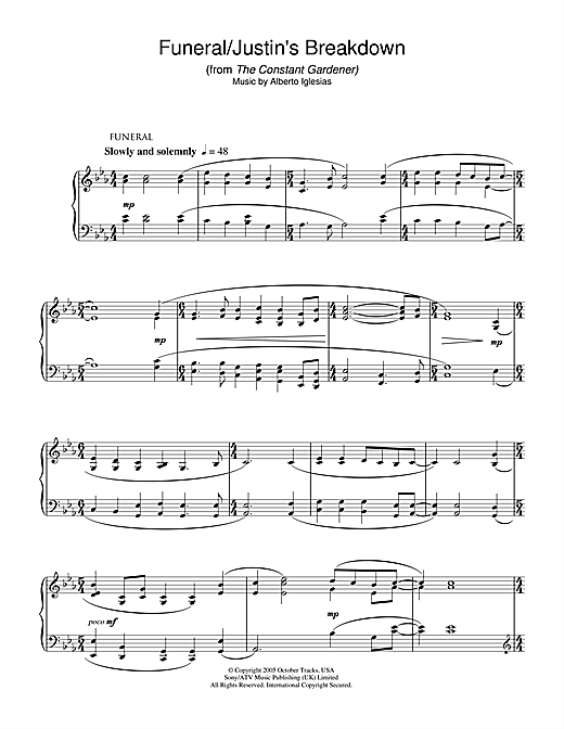 Funeral/Justin's Breakdown (from The Constant Gardener) Sheet Music