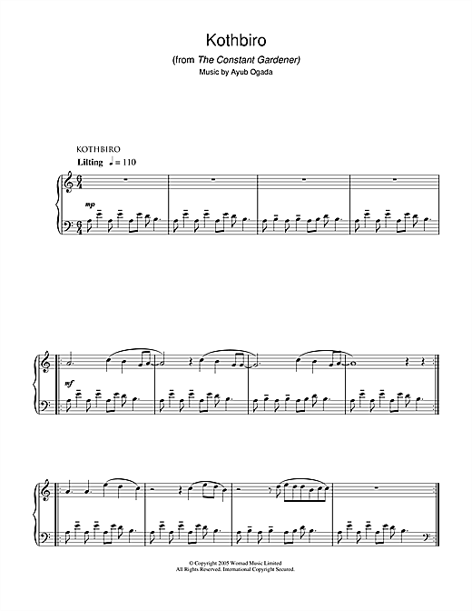 Kothbiro (from The Constant Gardener) Sheet Music