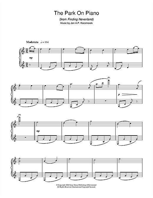 Partition piano The Park On Piano (from Finding Neverland) de Jan A.P. Kaczmarek - Piano Solo