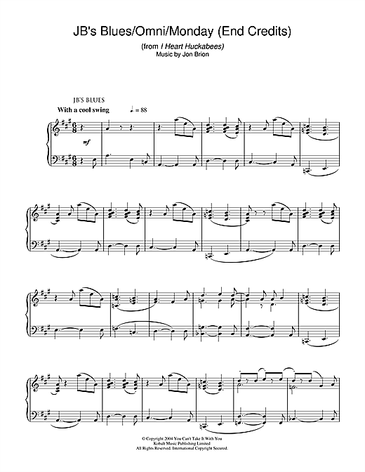 JB's Blues/Omni/Monday (End Credits) (from I Heart Huckabees) Sheet Music