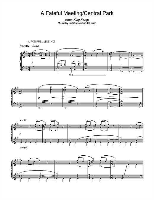 A Fateful Meeting/Central Park (from King Kong) Sheet Music