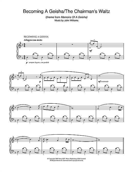 Becoming A Geisha/The Chairman's Waltz (theme from Memoirs Of A Geisha) Sheet Music
