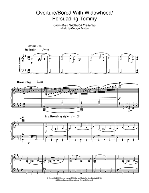 Overture/Bored With Widowhood/Persuading Tommy (from Mrs Henderson Presents) Sheet Music