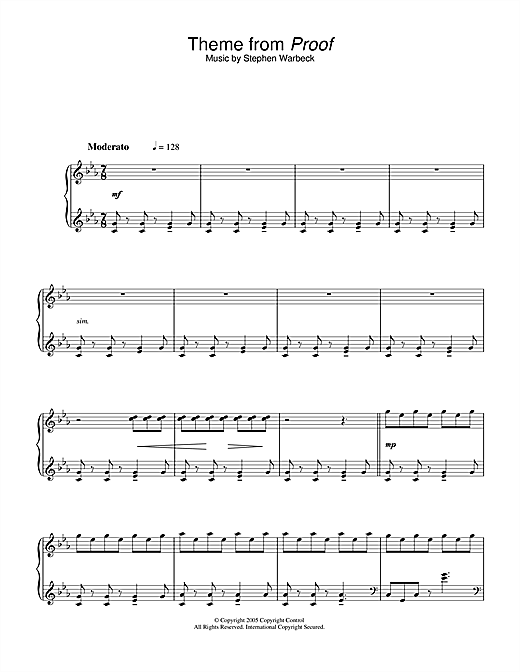 Partition piano Theme from Proof de Stephen Warbeck - Piano Solo