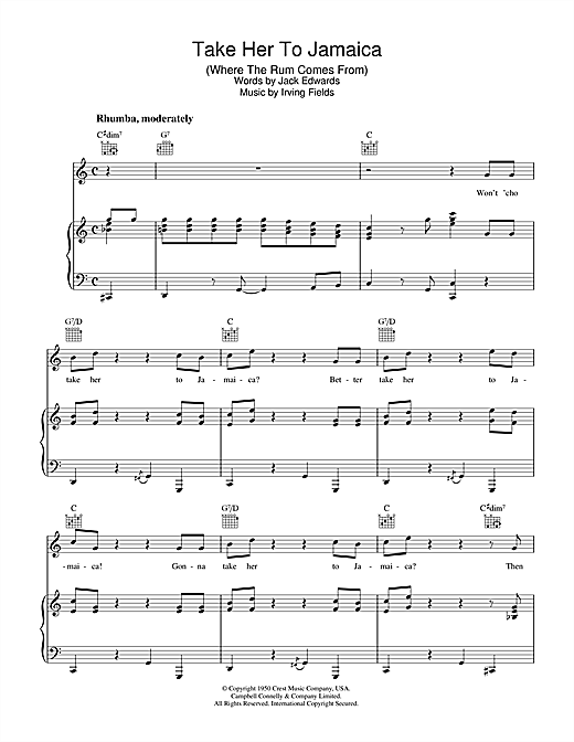 Take Her To Jamaica (Where The Rum Come From) Sheet Music