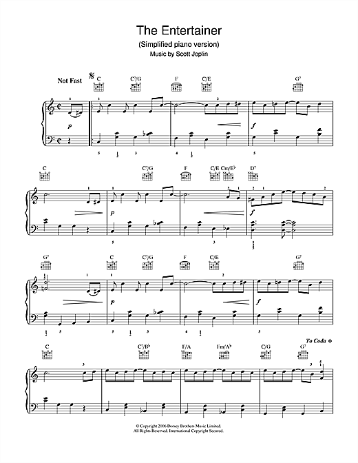 Piano tablature piano facile gratuite : The Entertainer partition par Scott Joplin (Piano Facile – 37425)