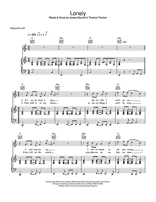 Partition piano Lonely de McFly - Piano Voix Guitare