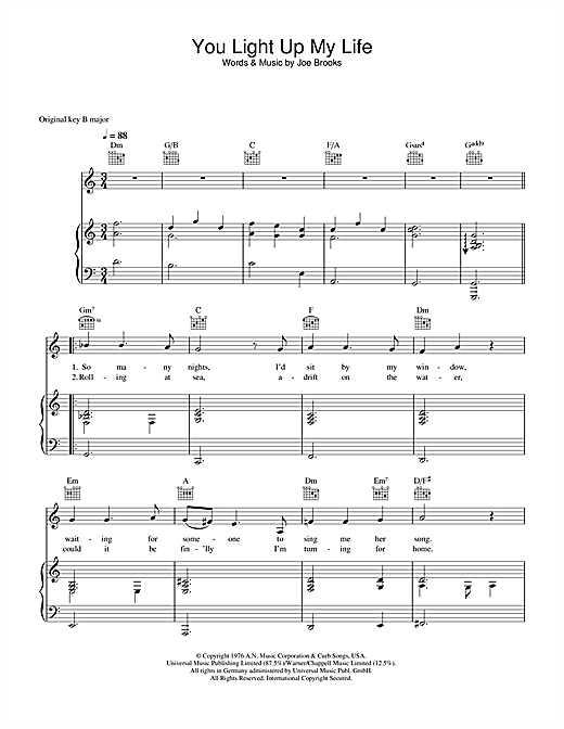 You Light Up My Life sheet music by Westlife (Piano, Vocal & Guitar ...