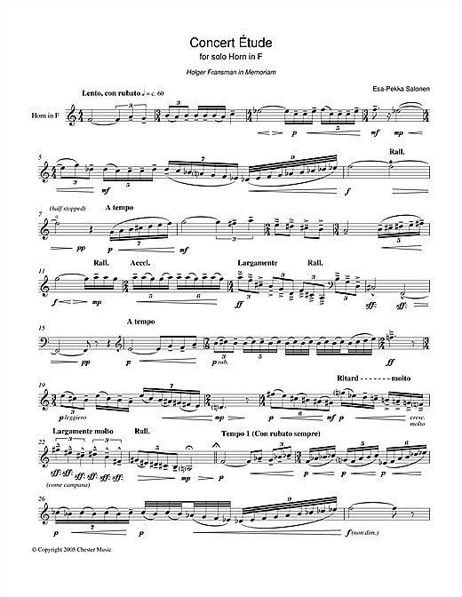 Partition autre Concert Etude For Solo Horn In F de Esa-Pekka Salonen - Cor