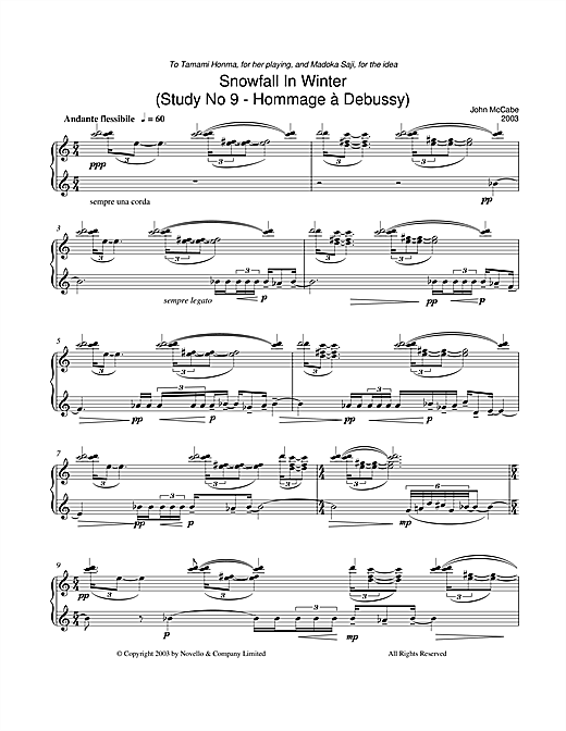 Snowfall In Winter (Study No 9 - Hommage À Debussy) Sheet Music