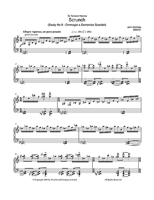 Partition piano Scrunch (Study No 8 - Ommagio A Domenico Scarlatti) de John McCabe - Piano Solo
