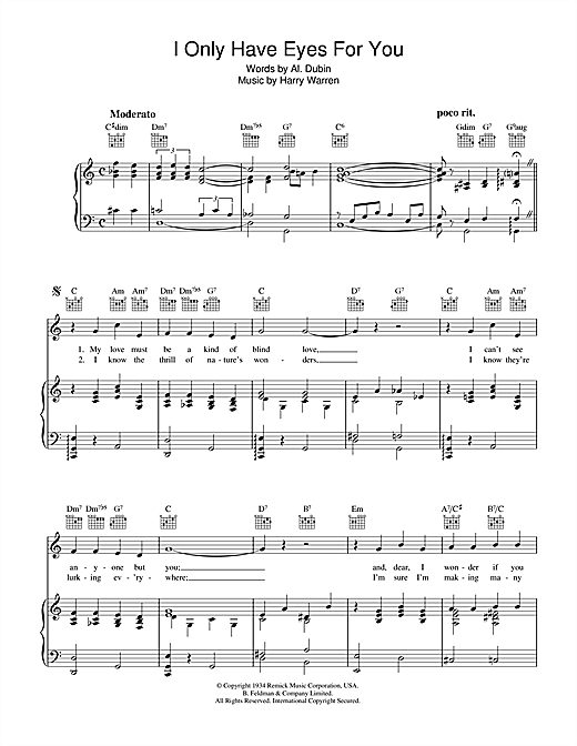 Partition piano I Only Have Eyes For You de Frank Sinatra - Piano Voix Guitare (Mélodie Main Droite)