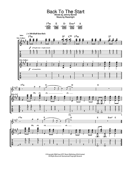 Back To The Start (Guitar Tab)