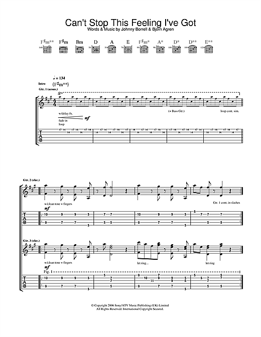 Can't Stop This Feeling I've Got (Guitar Tab)