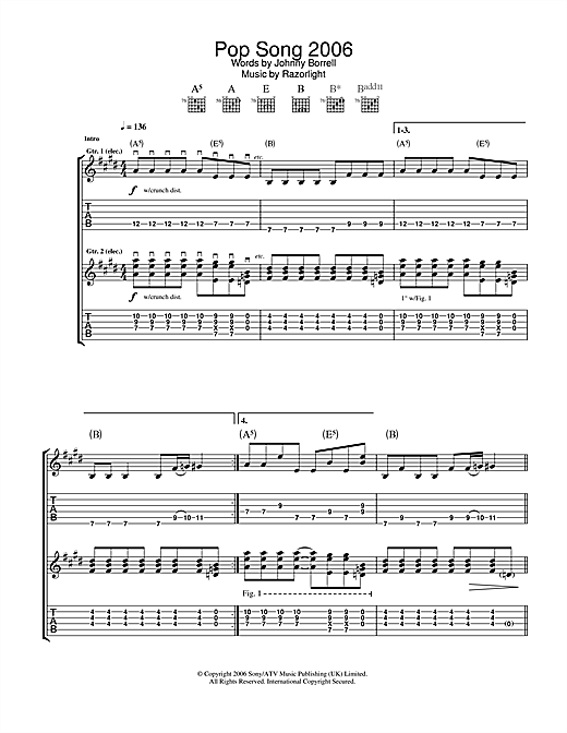 Pop Song 2006 (Guitar Tab)