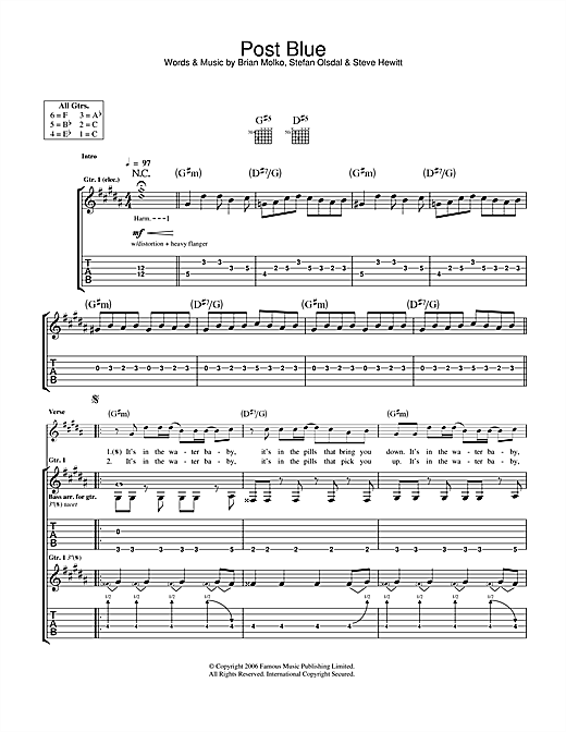 Tablature guitare Post Blue de Placebo - Tablature Guitare