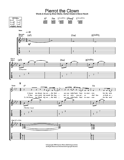 Pierrot The Clown Sheet Music
