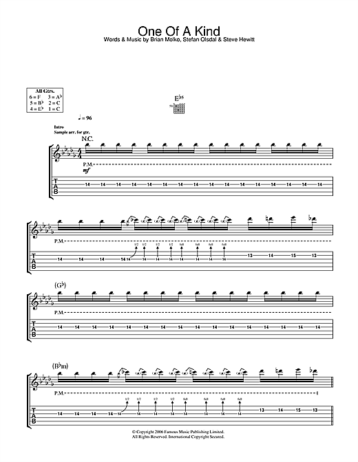 Tablature guitare One Of A Kind de Placebo - Tablature Guitare
