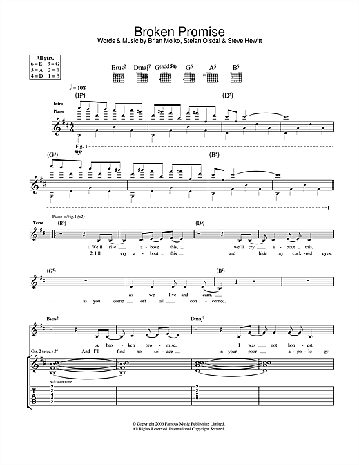 Broken Promise Sheet Music