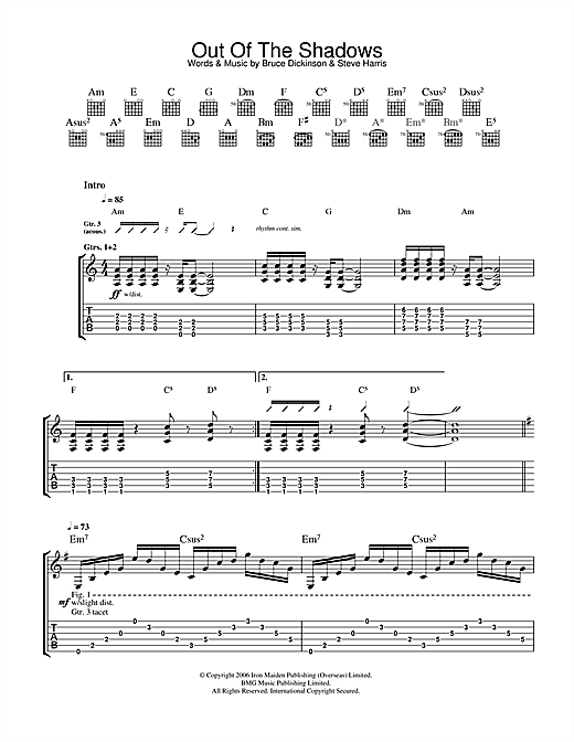 Tablature guitare Out Of The Shadows de Iron Maiden - Tablature Guitare