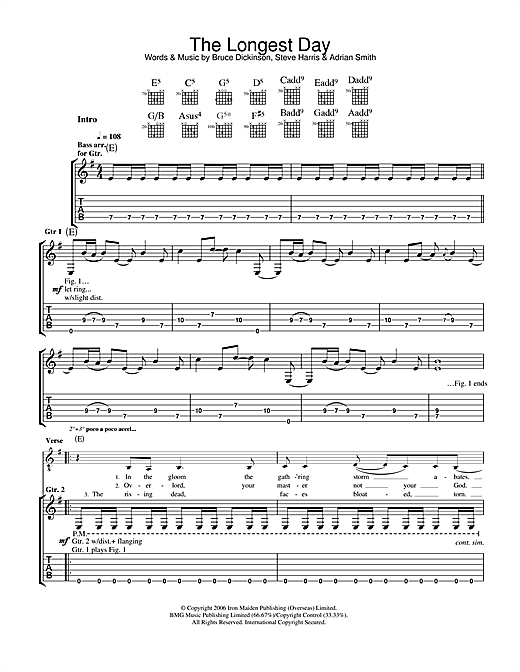 Tablature guitare The Longest Day de Iron Maiden - Tablature Guitare