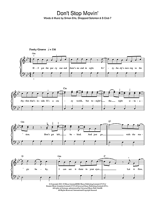 Don't Stop Movin' Sheet Music