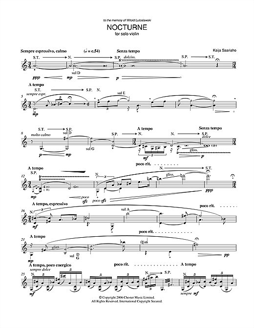 Nocturne (for Solo Violin) Sheet Music