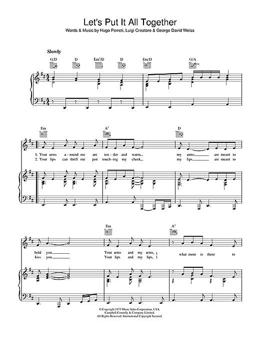 Let's Put It All Together (Piano, Vocal & Guitar (Right-Hand Melody))